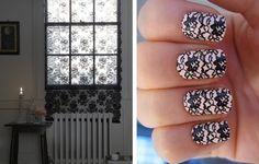 lace nail art, lace curtains, romantic, lace, interior design, black lace