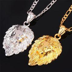 Hip Hop Lion Head Necklaces (3 colors)
