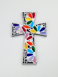 """Large Mosaic Wall Cross, Rainbow Floral Design, """"Daisies"""", Multicolored/Bright Handmade Stained Glass Mosaic 15"""" x 10"""" by GreenBananaMosaicCo"""