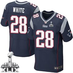 NFL New England Patriots James White Mens Elite Home Navy Blue #28 Super Bowl XLIX Jersey