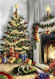Christmas pictures by Jessie - Posts Vintage Christmas Images, Christmas Scenes, Old Fashioned Christmas, Christmas Past, Vintage Holiday, Christmas Pictures, Christmas Greetings, Winter Christmas, Whimsical Christmas