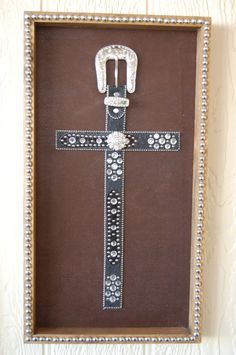 Black Western Belt Cross Frame Wall Hanging by getkimskreations, $80.00
