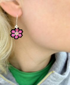 Earrings - Japanese Cherry Tree Flowers vol. 2 - Bright Pink, Light Baby Pink, Bright Kelly Green, Light Spring Green and Black. kr300,00, via Etsy.