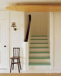 Painted Wood Floors - steps... surf board