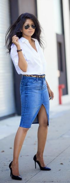 White Open Front two Buttons + Sexy Denim Skirt