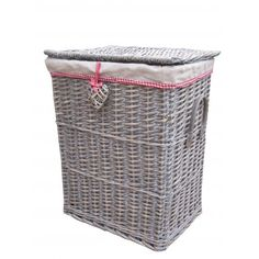 Grey Wash Wicker Laundry Basket With Willow Heart Feature