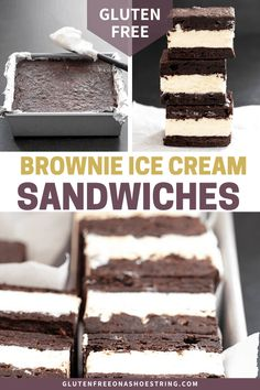Gluten free brownie ice cream sandwiches made with the fudgiest brownies split between two pans, baked, and layered with homemade no churn vanilla ice cream. Gluten Free Ice Cream Cake, Gluten Free Bars, Gluten Free Brownies, Gluten Free Sweets, Gluten Free Baking, Dairy Free, Brownie Sans Gluten, Dessert Sans Gluten, Barres Sans Gluten