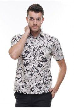 Pria > Pakaian > Atasan > Kemeja > LGS - Regular Fit - Kemeja Casual - Motif Batik - Putih > LGS