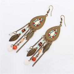 Retro fashion bohemian ethnic earrings leaves beads tassels drop pendant earrings for women cute Jewelry Accessories Brincos