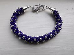 Kumihimo bracelet using size 6 and 8 seed beads -- it gives a fun texture to the bracelet