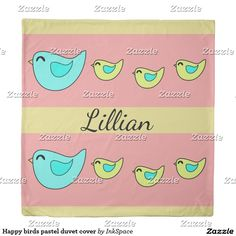 Custom Lillian Happy birds pastel duvet cover. Yellow peach and aqua personalized bedding for spring beds.