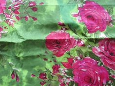 E6 Green Fuchsia Big Floral Fabric Pattern