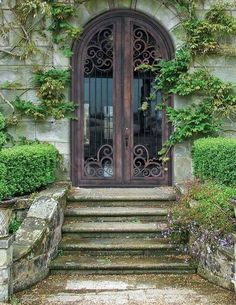 yes please. French country wrought iron and glass double front doors, antique