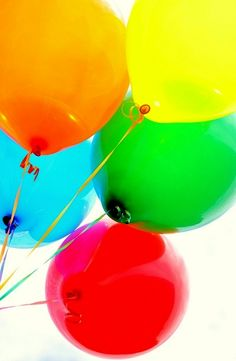 Rainbow colored bouquet of balloons.  (5/3/2013)