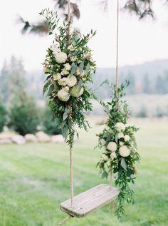 Floral Swing Wedding Details Leavenworth Wedding Photographer www.bluerosepictures.com