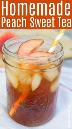 Homemade Southern Peach Sweet Tea perfect for those hot summer days! Fruit Drinks, Smoothie Drinks, Healthy Drinks, Beverages, Cold Drinks, Smoothies, Peach Drinks, Fruit Tea, Alcoholic Drinks