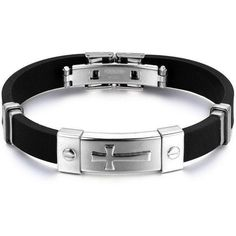 Stainless Steel Silicone Bracelet with Golden & Silver Tone Cross