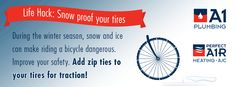 Make your bike snow and ice ready by using zip ties to create grip all around your tires.