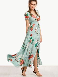 811228baed Milumia Women Button Up Split Floral Print Flowy Party Maxi Dress Light  Green XL Size Chart  Short Sleeve  Shoulder(inch)  Bust(inch)  Waist  Size(inch)  ...