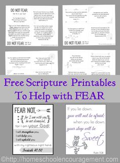 Do Not Fear FREE Printables -Are you or your kids afraid of anything? In moments of fear or anxiety, cover yourself with these scriptures, reciting them in your head or aloud. Pray them over your children before bed or difficult situations. Recite the scriptures with them when they wake up at night. God's Word is truly powerful!
