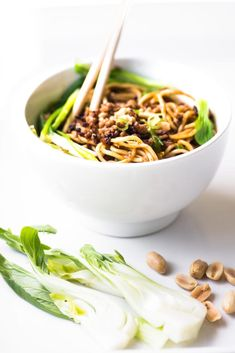 This is the easy 30 minute edition of Dan Dan Noodles ~ spicy Asian noodles in a rich creamy sauce, topped with crispy pork and barely wilted greens, YUM! Ramen Recipes, Asian Recipes, Cooking Recipes, Chinese Recipes, Spicy Asian Noodles, Ramen Noodle Bowl, Ramen Noodles, Tahini Recipe, Baked Oatmeal Cups