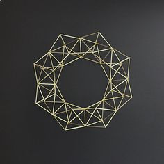 Large Brass Himmeli Wreath / Modern Geometric Wall Sculpture / Minimalist Home Decor on Etsy, $185.00