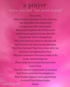 Prayer for when you don't feel good enough