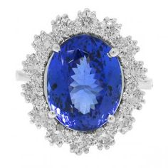 DESIGNER:ALLUREZ  1.52ct Diamond  7.88ct Tanzanite 14k White Gold Ring
