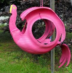 things made from tires | Flower planter made in the shape of a pink flamingo. This flamingo ...