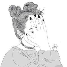 Dessin Noir et Blanc Tumblr Girl Drawing, Tumblr Sketches, Girl Drawing Sketches, Girly Drawings, Outline Drawings, Girl Sketch, Pencil Art Drawings, Cartoon Kunst, Cartoon Art