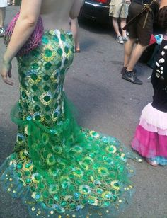 Green Sequined Mermaid Skirt/Tail- Ariel, Sea Nymph, Water Sprite, Coney Island Mermaid Parade. $175.00, via Etsy.