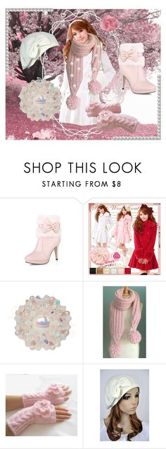 """Pink, pearls and scarves"" by dazzlemetreasury ❤ liked on Polyvore featuring Pink, pearls and scarf"