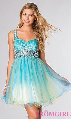 Short Sleeveless Two Toned Tulle Dress at PromGirl.com