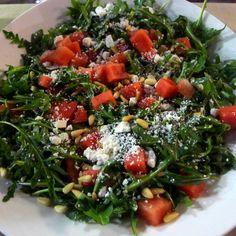 watermelon, arugula, ricotta salata and pine nut salad by Cathy Jones