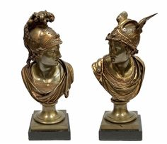 Pair Of Estate Antique 19th C. Bronze Roman Busts Winged Mercury | eBay