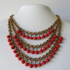 Vintage 1940's Art Deco Cherry Red Glass Bead Dangle Bib Fringe Necklace | eBay