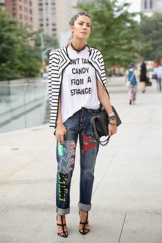 patched denim. #MarthaGraeff & her pimped out denim in NYC.
