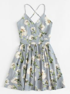Shop Floral Print Wrap Cami Dress at ROMWE, discover more fashion styles online. Cute Casual Outfits, Cute Summer Outfits, Pretty Outfits, Pretty Dresses, Spring Outfits, Casual Dresses, Short Dresses, Floral Dresses, Summer Dresses