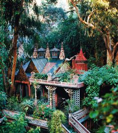 Home of Tony Duquette, photographed by Oberto Gili for Harper's Bazaar, December Beautiful architecture. Beautiful Buildings, Beautiful Homes, Beautiful Places, House Beautiful, Bohemian House, Interior Architecture, Interior And Exterior, Ancient Architecture, Amazing Architecture