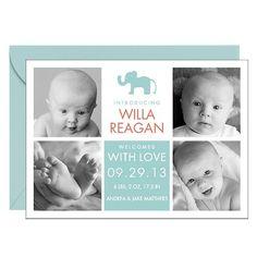 Elephant Blocks Girl Birth Announcement | Paper Source