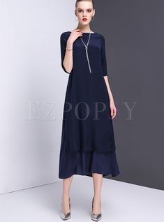 Shop for high quality Elegant Pure Color Mermaid Maxi Dress online at cheap prices and discover fashion at Ezpopsy.com