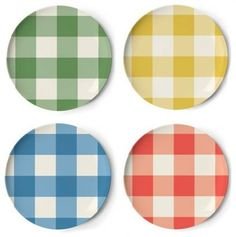 Perfect for a romantic picnic! thomaspaul Portland Dessert Plate Set - set of red, green, yellow & blue checkered tablecloth patterned melamine plates. Picnic Plates, Dessert Plates, Contemporary Dinnerware, Romantic Picnics, Side Plates, Gingham Check, New Shop, Plate Sets, Cubbies