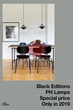 Black PH 5 Mini as dining room ligting Special price on black editions of PH's icons. Only available in 2019. Designed by Poul Henningsen. PH 5, PH 5 Mini, PH 3½-3 Pendant Lamp, P Home Office Lighting, Hallway Lighting, Dining Room Lighting, Bedroom Lighting, Kitchen Lighting, Pendant Lamp, Pendant Lighting, Ph Lamp, Black Edition