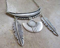 Boho statement necklace, turkish boho necklace, tribal feather necklace,turkish necklace,statement necklace,statement boho necklace