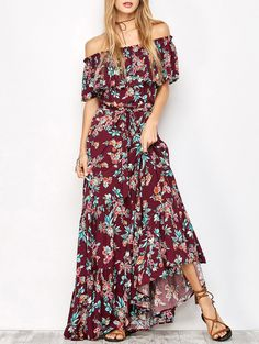 $23.93 Off The Shoulder Maxi Dress With Frill Overlay