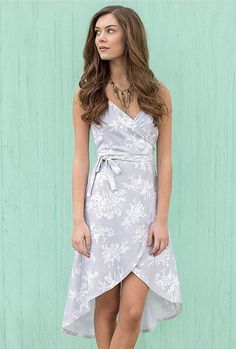 ~~~GORGEOUS light blue floral high low wrap dress. Try STITCH FIX today and get looks just like these hand picked for you by your own personal stylist. Stitch fix spring. Stitch fix summer. #affiliatelink