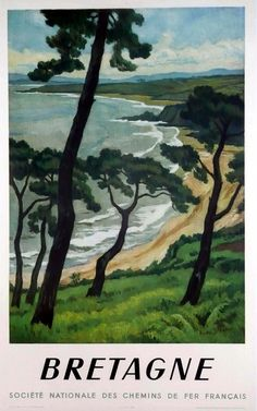 FRANCE - Brittany Bretagne, SNCF, by André Strauss Lithograph in colours, 1950 #Vintage #Travel