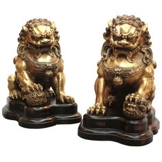 Large Brass Foo Lions | From a unique collection of antique and modern metalwork at http://www.1stdibs.com/furniture/asian-art-furniture/metalwork/