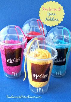 Fun McDonalds Im lovin it Use plastic cups for yarn holders at sewlicioushomedecor Sew Organized Dollar Store Cup to Yarn Container Knitting Projects, Crochet Projects, Crochet Minecraft, Party Favors For Adults, Yarn Organization, Yarn Storage, Recycled Yarn, Yarn Bowl, Loom Knitting