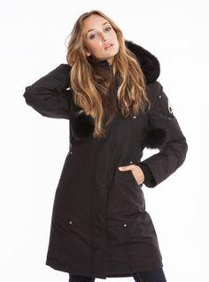 Moose Knuckles Women's Stirling Parka in Black with Black Fur